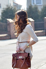 Tan-new-yorker-boots-ivory-stradivarius-dress-brown-h-m-bag