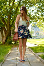 Brown-h-m-bag-aquamarine-f-f-blouse-navy-bershka-skirt