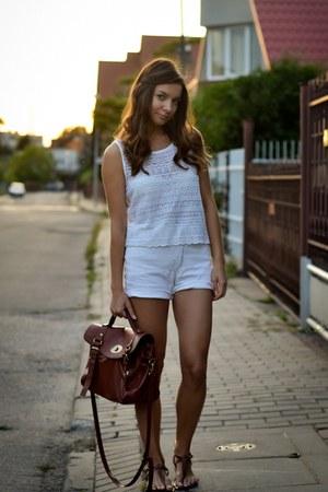 brown Zara bag - white Secondhand shorts - dark brown Tally Weijl sandals
