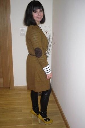 mustard Stradivarius heels - Stradivarius leggings - Stradivarius cardigan