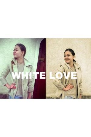 white random brand coat - Zara boots - white pull&bear jeans