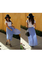 black floppy hat hat - white crop top asos shirt - light purple Forever 21 skirt