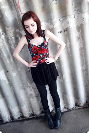 H&M top - H&M skirt - Topshop leggings - boots