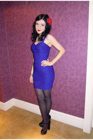blue bodycon new look dress - black platform Zara heels - spike Topshop necklace