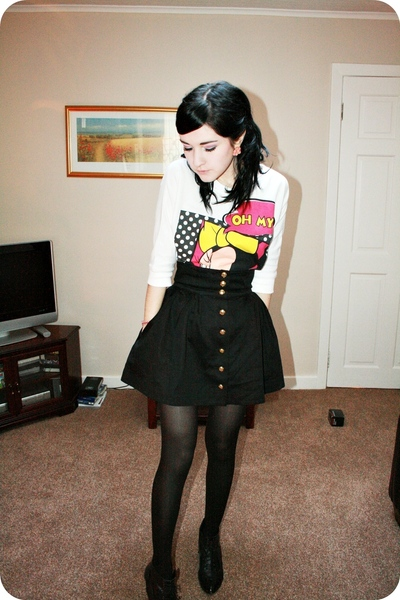 white minnie mouse George sweater - black high-waisted H&M skirt