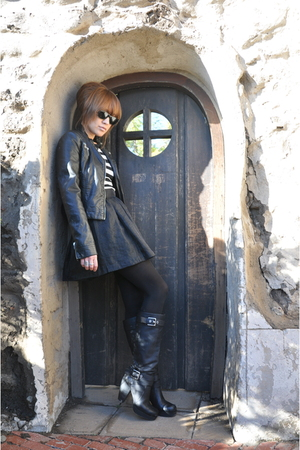 Miss Sixty boots - Zara jacket - H&amp;M skirt - JCrew top - Ray Ban accessories