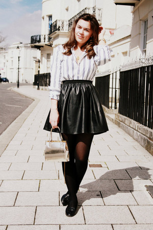 white Ralph Lauren shirt - gold vintage bag - black Primark skirt
