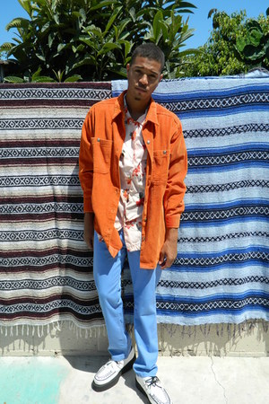 carrot orange corduroy DisciplesOf jacket - sky blue Levis jeans