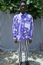 custom painted DisciplesOf shirt - striped DisciplesOf jeans