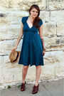 Green-elle-dress-brown-frye-boots-shoes-yellow-target-hat