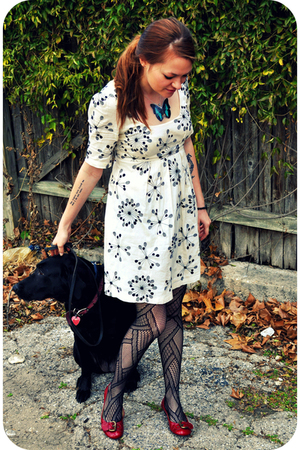 white French Connection dress - red shoes - black tights