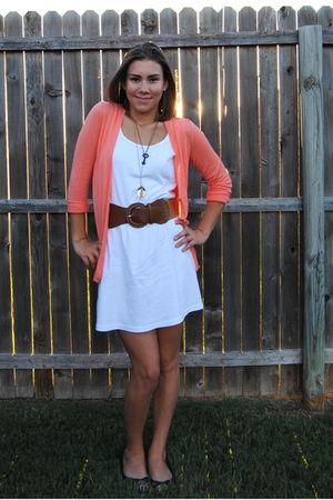 white American Apparel dress - orange Jcrew cardigan - brown Agaci belt - brown