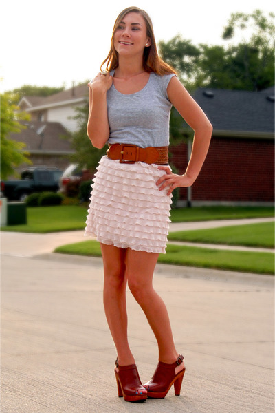 gray Agaci shirt - pink Target skirt - brown Thrifted Neiman Marcus belt - brown