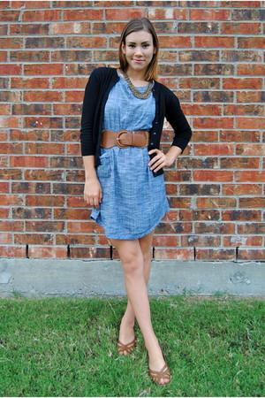 blue modcloth dress - black Nordstrom cardigan - brown Agaci belt - brown payles