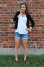 White-gap-shirt-black-nordstrom-cardigan-blue-american-eagle-shorts