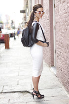 midi asos dress - backpack asos bag - cut out gloves gloves