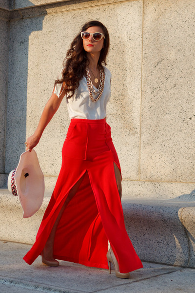 red red maxi skirt BCBG skirt - off white Zara blouse