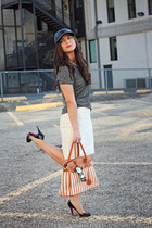 black hat asos hat - tawny bag JustFab bag