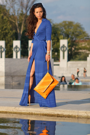 blue wrap dvf dress - orange clutch asos bag