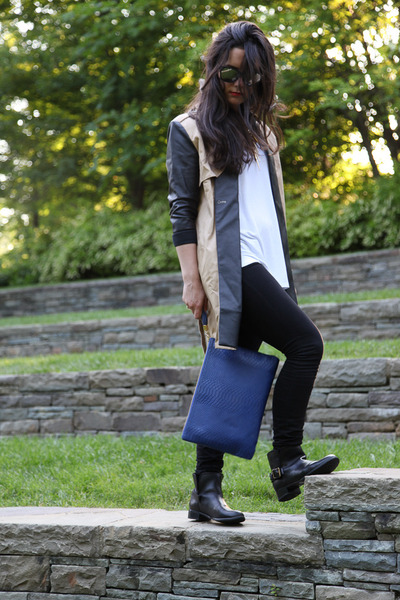 blue clutch GiGi New York bag - black ankle boots Fossil boots