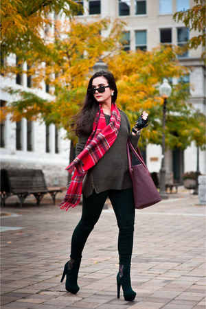 dark green sweater Forever 21 sweater - dark green booties Rachel Zoe boots