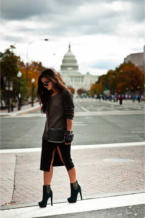 black pencil skirt Forever 21 skirt - dark green platform Rachel Zoe boots
