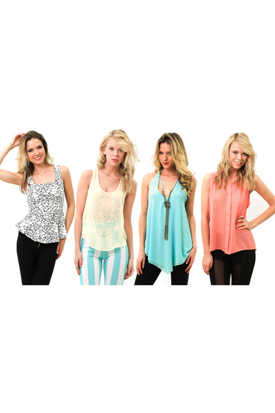 white peplum top - light yellow tank top - aquamarine top top - coral blouse top