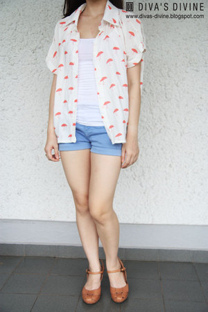salmon Divas Divine shirt - sky blue denim shorts Zara shorts - white cotton on