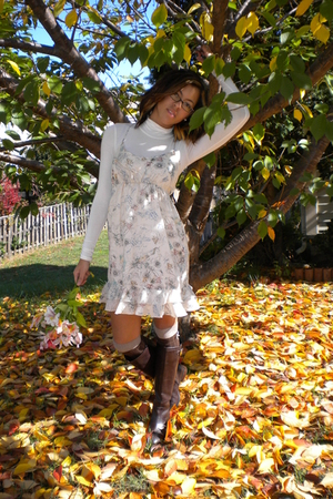 top - Forever 21 dress - Target socks - lauren by ralph lauren boots