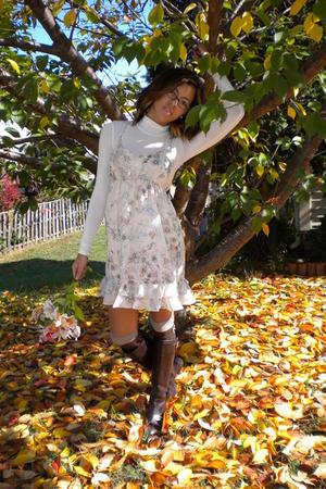 top - Forever 21 dress - Target socks - lauren by ralph lauren boots