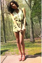 brown faux gator vintage purse - camel romper - brown wedges - cream romper