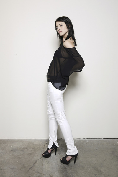 black Hidden Spectrum top - white Bebe pants