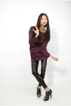 purple dress - black American Apparel leggings - black Sterling Shoes shoes
