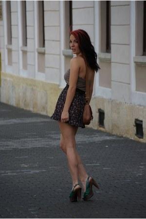 brown random brand bag - floral skirt random brand skirt