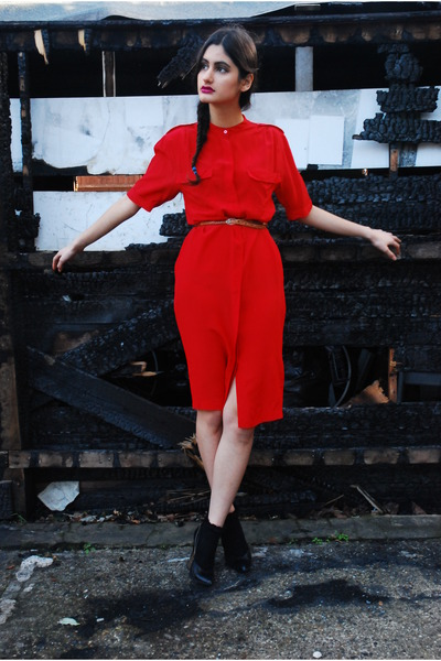 red DollsMaison dress - black Topshop socks - tawny DollsMaison belt