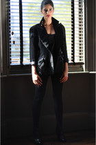 black Carvela boots - black panel H&M leggings - black Maick Harold Paris blazer