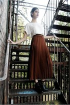 dark brown pleated midi DollsMaison skirt - black leather ankle models own shoes