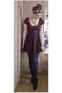 Maroon-h-m-dress-crimson-topshop-skirt-black-new-look-pumps