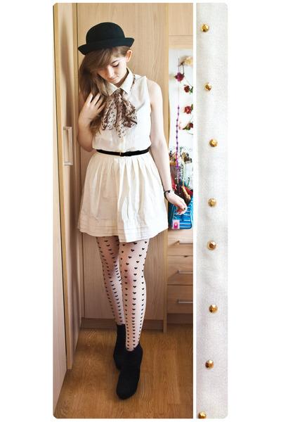 black asos hat - white H&M tights - off white Primark skirt