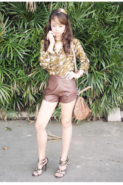 green Posh Wardrobe top - brown South Sartorial shorts - olive green LYN heels