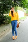 Light-orange-zara-sweater-brown-givenchy-bag-blue-topshop-pants