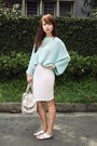 Light-blue-zara-sweater-silver-louis-vuitton-bag-white-miss-selfridge-skirt