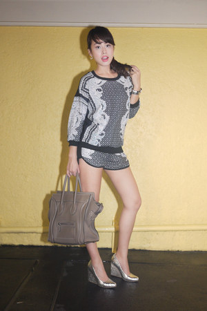 black choiescom sweater - heather gray Celine bag - silver choiescom shorts
