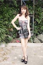 black stingray clutch YSL bag - ruby red tube dress Posh and Pretty dress