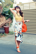 blue Zara skirt - red Fendi bag - red Zara heels - yellow Topshop top