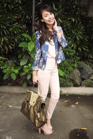 blue Zara blazer - gold YSL bag - white H&M blouse - light pink H&M heels