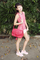 hot pink H&M top - hot pink YSL bag - white Zara shorts - white nike sneakers