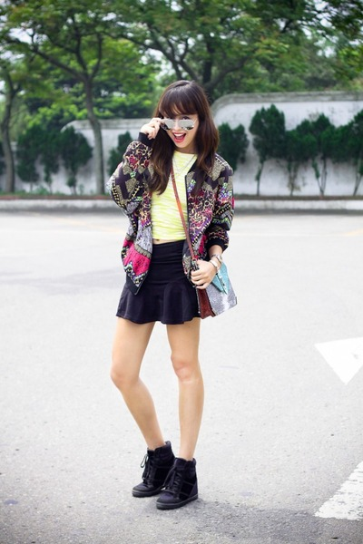 black H&M jacket - orange Rebecca Minkoff bag