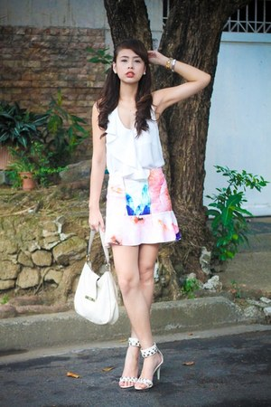 bubble gum Zara skirt - ivory Gucci bag - white H&M top