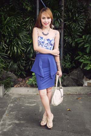 blue Topshop top - off white Gucci bag - blue apartment 8 skirt